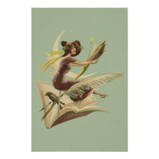 Witch Broom Crescent Moon Book Raven Poster