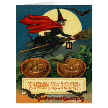 Halloween Themed Witch Broom Flying Black Cat Bat Card