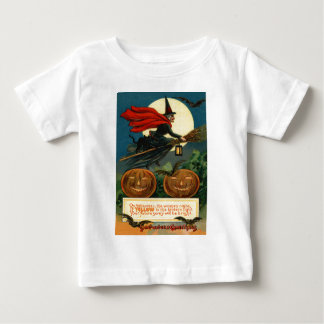 Witch Broom Flying Jack O Lantern Black Cat Bat Baby T-Shirt