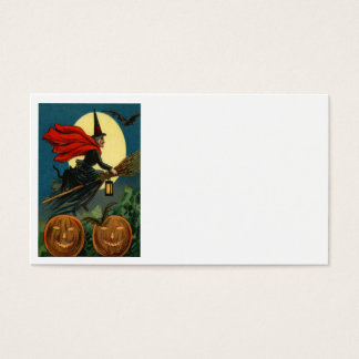 Witch Broom Flying Jack O Lantern Black Cat Bat Business Card