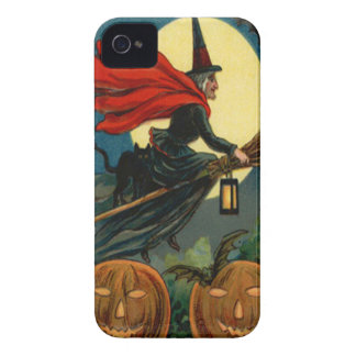 Witch Broom Flying Jack O Lantern Black Cat Bat iPhone 4 Case-Mate Case
