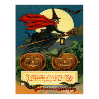 Witch Broom Flying Jack O Lantern Black Cat Bat Postcard