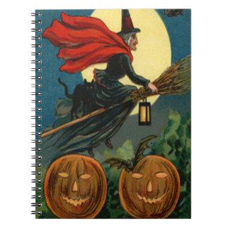 Witch Broom Flying Jack O Lantern Black Cat Bat Spiral Notebook