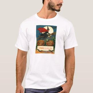 Witch Broom Flying Jack O Lantern Black Cat Bat T-Shirt