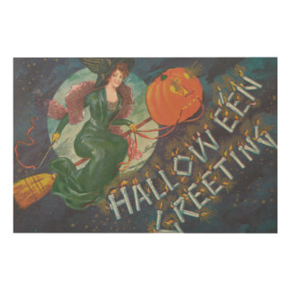 Witch Broom Flying Jack O' Lantern Full Moon Wood Print