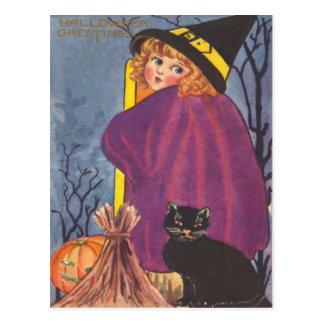 Witch Broom Jack O Lantern Black Cat Trees Postcard