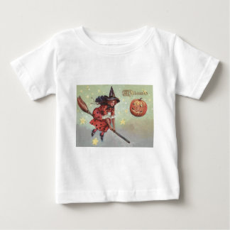 Witch Broom Jack O Lantern Flying Stars Baby T-Shirt