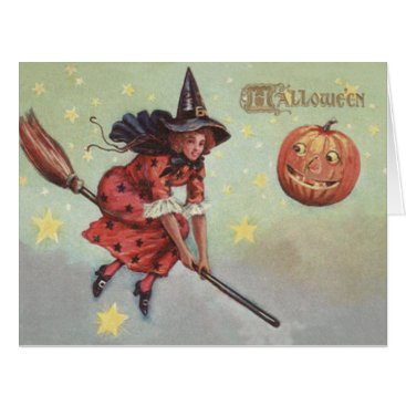 Halloween Themed Witch Broom Jack O Lantern Flying Stars Card