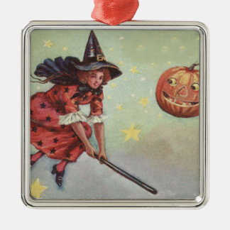 Witch Broom Jack O Lantern Flying Stars Metal Ornament