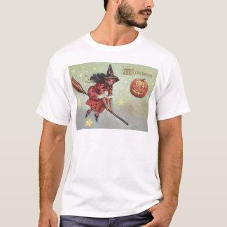 Witch Broom Jack O Lantern Flying Stars T-Shirt