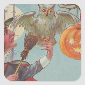 Witch Broom Jack O Lantern Owl Moon Square Stickers