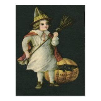 witch Broom Jack O Lantern Pumpkin Black Cat Postcards