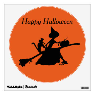 Witch broom pumpkin cat flying wall decal