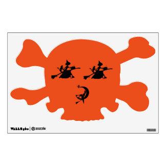 Witch broom pumpkin cat on a skull wall sticker