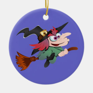 Witch broom witch broom ceramic ornament