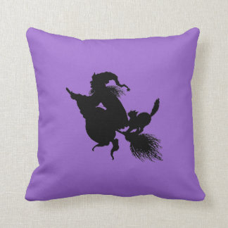 Witch Broomstick and Cat on Purple Pillow