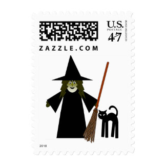 Witch Broomstick & Black Cat Pagan Postage Stamps