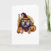 Witch Bulldog Dog Costume For Spooky Halloween Card