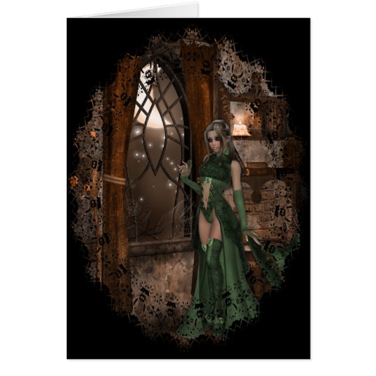 Witch by the Window :: Halloween Designs Card