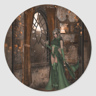 Witch by the Window :: Halloween Designs Classic Round Sticker