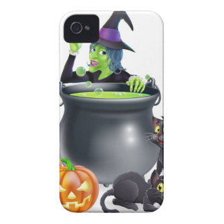 Witch Cartoon Halloween Scene iPhone 4 Case-Mate Cases