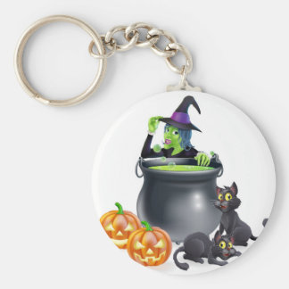 Witch Cartoon Halloween Scene Key Chains