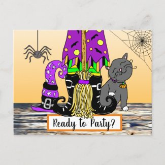 Witch, Cat and Spiderweb Cute Halloween Invitation Postcard