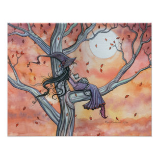 Witch Cat Autumn Poster by Molly Harrison