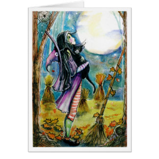 Witch , Cat, Big Moon Card