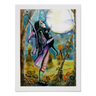 witch, Cat, Big Moon Poster