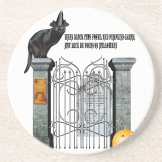 Witch Cat Cemetery Coaster