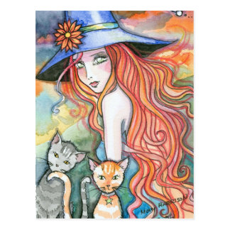 Witch Cat Halloween Art Postcard by Molly Harrison