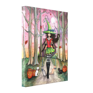 Witch Cat Halloween Gallery Wrapped Canvas Print