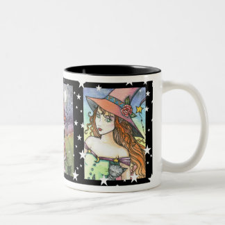 Witch Cat Halloween Mug by Molly Harrison