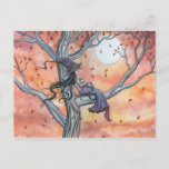 Witch Cat Halloween Postcard by Molly Harrison