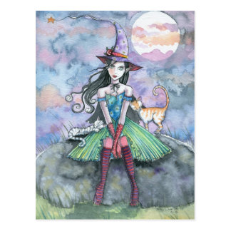 Witch Cat Halloween Postcard 'Sweet and Sour'