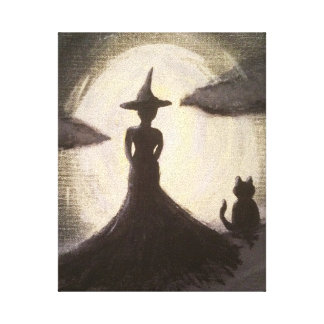 Witch & Cat in Silhouette Canvas Print