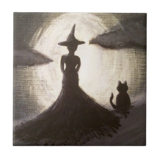 Witch & Cat in Silhouette Tile