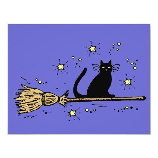 Witch cat invitation card
