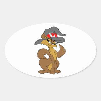 Witch Cat Oval Sticker