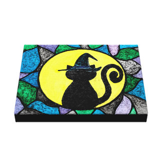 Witch Cat Stained Glass Wrapped Canvas