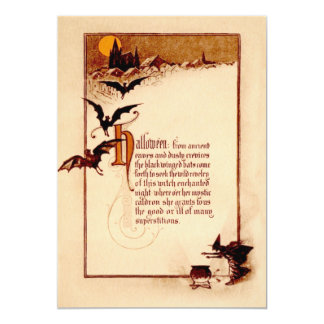 Witch Cauldron Bat Full Moon 5x7 Paper Invitation Card
