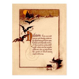 Witch Cauldron Bat Full Moon Postcard
