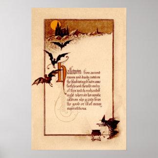 Witch Cauldron Bat Full Moon Poster