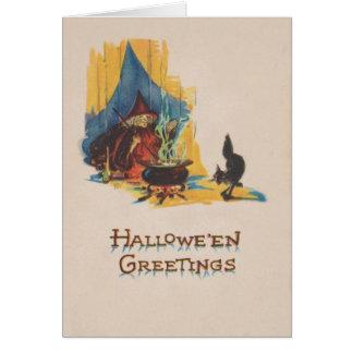Witch Cauldron Black Cat Card