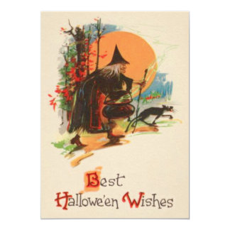 Witch Cauldron Black Cat Full Moon Card