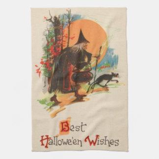 Witch Cauldron Black Cat Full Moon Kitchen Towel
