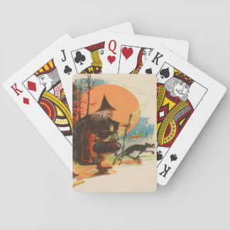 Witch Cauldron Black Cat Full Moon Playing Cards