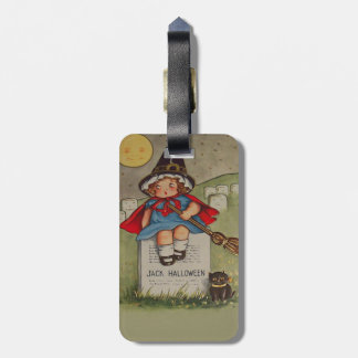 Witch Cemetery Tombstone Black Cat Moon Luggage Tag