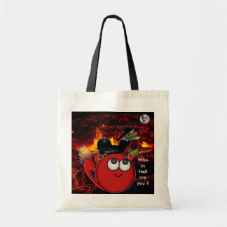 Witch chasing Ghost moon and little Devil Budget Tote Bag